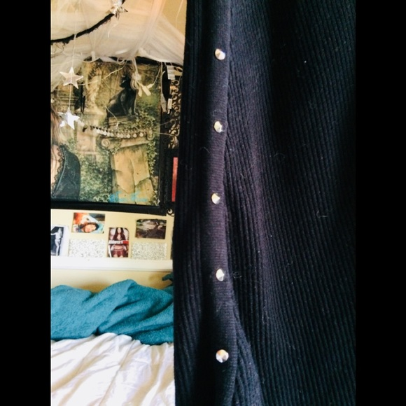 Zara Dresses & Skirts - SOLD Long black ribbed Zara skirt with studs M